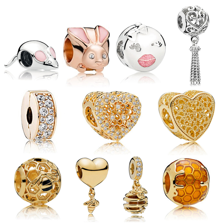 NEW NEW 100% 925 Sterling Silver Charms Bead Rose Gold Mouse 18 Gold Shine Wasp Fee Fit DIY Bracelets factory wholesaleNEW NEW 100% 925 Sterling Silver Charms Bead Rose Gold Mouse 18 Gold Shine Wasp Fee Fit DIY Bracelets factory wholesale