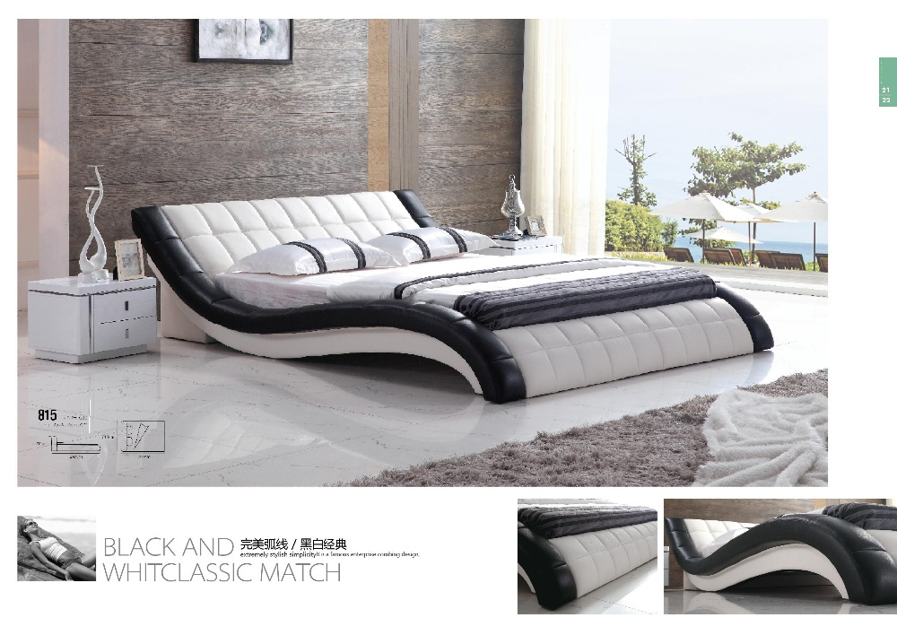 Modern White PVC PU Leather Cushion Bed for Bedroom Furniturein