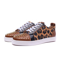 Leopard Low Top Men Sneakers Plus Size Lace up Casual Shoes Metal Rivets Decor Genuine Leather Outdoor Man Vulcanized Shoes