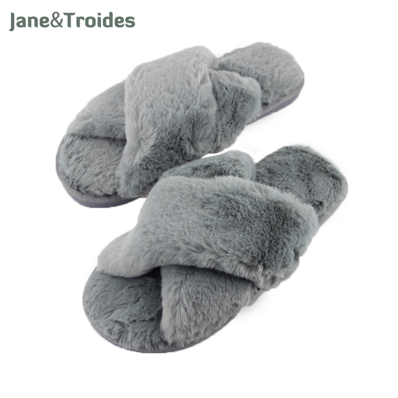 Winter Fluffy Home Slippers For Women Thicken Anti Slip Cross Plush Flip Flops Warm Indoor Open Toe Slippers Fashion Woman Shoes designer fluffy fur women winter slippers female plush home slides indoor casual shoes chaussure femme