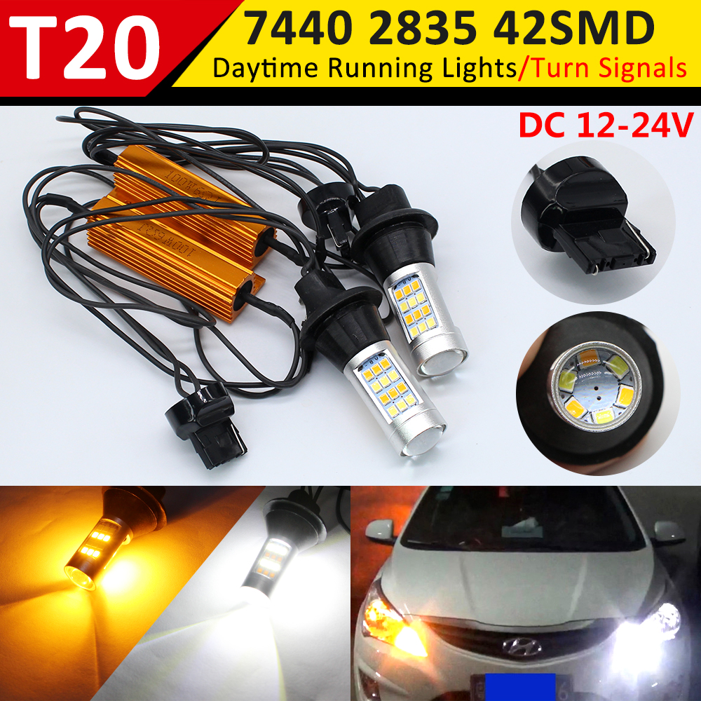 Daytime Running Light <font><b>T20</b></font> 7440 <font><b>LED</b></font> <font><b>DRL</b></font> Canbus Dual Color White/Amber Auto Rear Direction Indicator Car Front Turn Signal Lights image