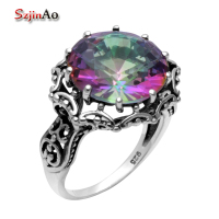 Szjinao 925 Sterling Silver Ring Flowers Female Wedding Rings Topaz Ring Wholesale bague femme de marque de luxe