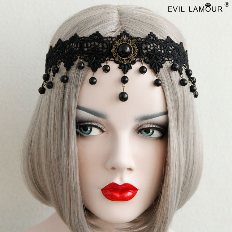 Princess Gothic Lolita Hairbands Foreign Style Black Lace Pearl Hair Ribbon Accessories Creative Design Holiday Headdress Fd-56 Rich In Poetic And Pictorial Splendor Apparel Accessories