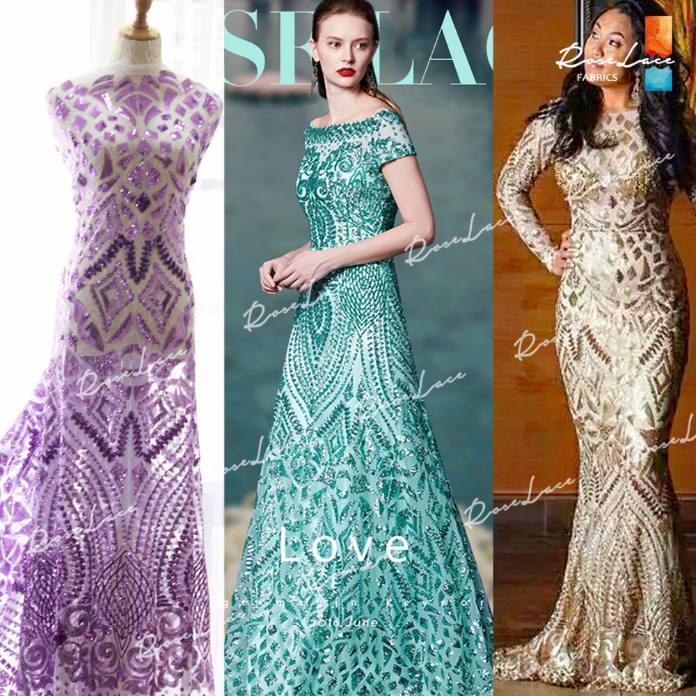 Gold Sequined African Lace Fabric With Sequins 2017 New Design ...