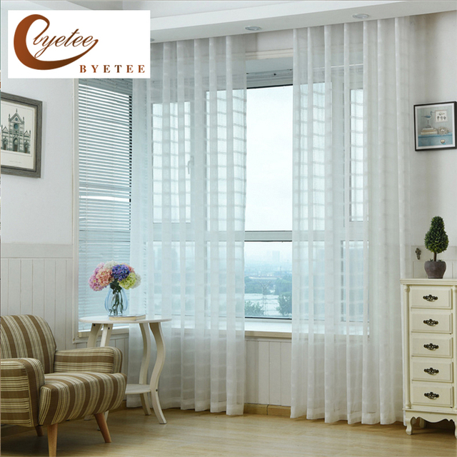 [byetee] Plaid Curtains For Thickened White Curtain Screens Special Living  Room Tulle Curtains Kitchen Part 49