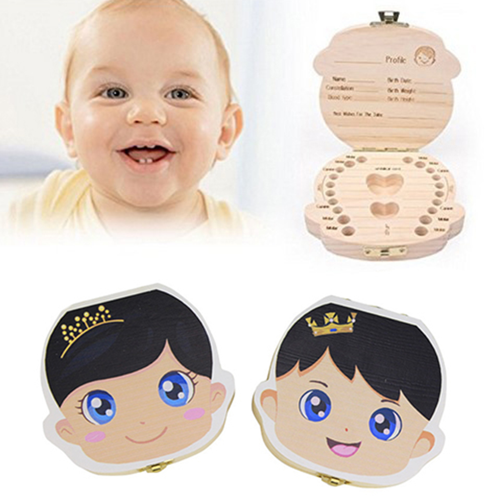 Boy English Baby Tooth Box Wooden Milk Teeth Save Box Souvenir Box Organizer Holder Storage For Kids Baby Save 3-6 Years