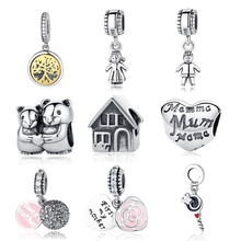9c030a0e5 Authentic Sterling Silver 925 Original Charm Fit Pandora Bracelet Diy  Charms Beads Family Mom Sister Baby