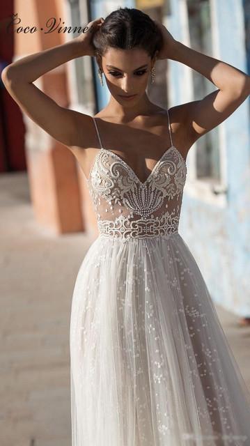 Sexy Illusion Travel Wedding Dress Beach Wedding Gown Beautiful Pearls Beading Straps Tulle Sweep Train Arab Wedding Dresses New