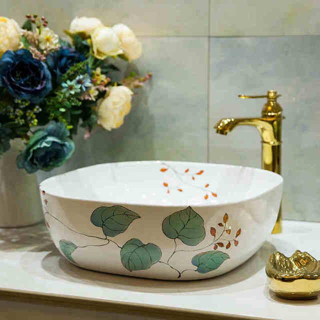 Gandra 38cm x 38cm Semi Recessed Square Inset Countertop Bathroom Sink