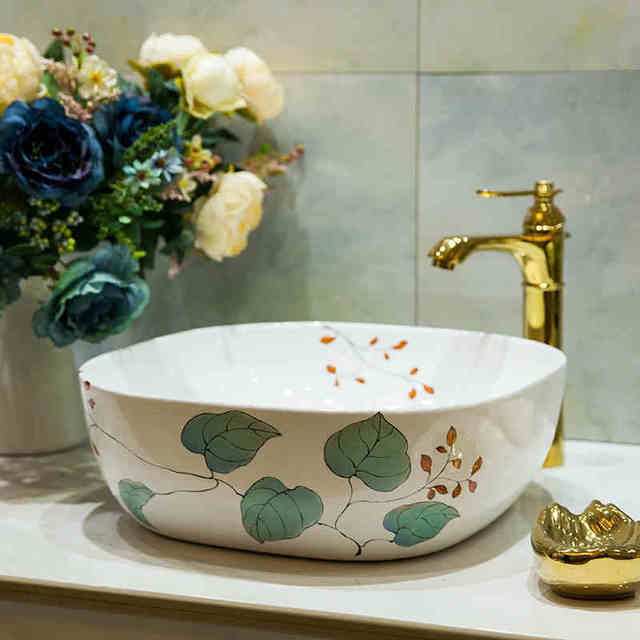Square Bathroom Counter Top Wash Basin Cloakroom Hand Painted Vessel Sink  Bathroom Sink Printed Art Basin