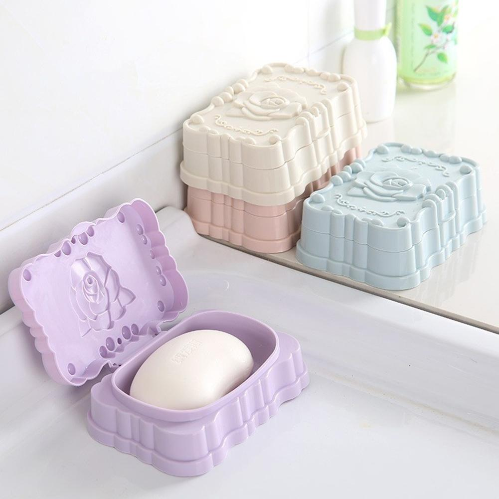 Modern Plastic Rose Bathroom Soap Storage Dish Drain Rack Holder Container Case Portable Soap Dishes New