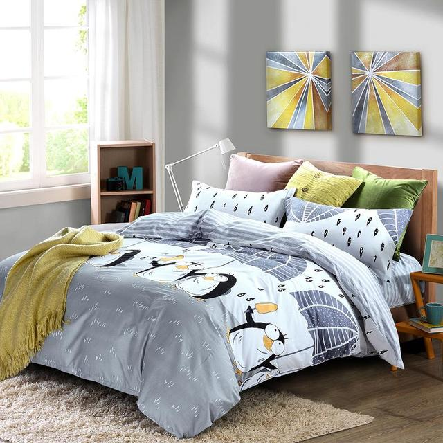 Cotton Cute Gray Penguin Pattern 4Pcs Double Bedding Set Queen Size With  Duvet Cover Bed Sheet Bedspread Cotton Bed Sheets Strip