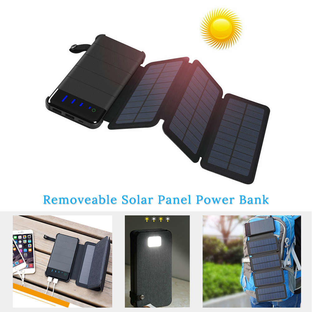 Folding Foldable Solar Panel Charger 5V Power Bank 20000mah Sunpower Solar Battery USB Output for Smartphone Outdoors