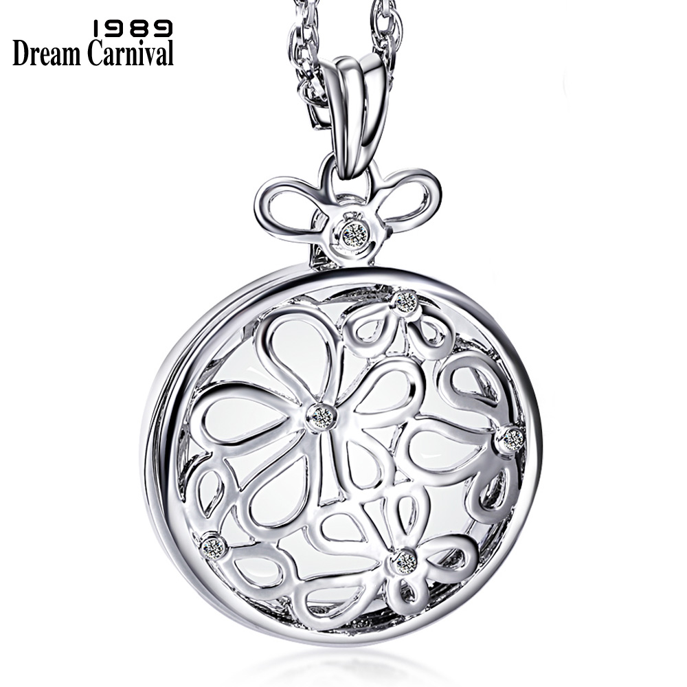 DreamCarnival 1989 Crystal Flowers Magnifying Glass Pendant Necklace for Women Mother Gift Jewelry Rhodium Gold Color Long Chain yoursfs heart necklace for mother s day with round austria crystal gift 18k white gold plated