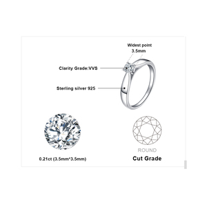 Image 5 - JewelryPalace CZ Solitaire Engagement Ring 925 Sterling Silver Rings for Women Anniversary Ring Wedding Rings Silver 925 Jewelry