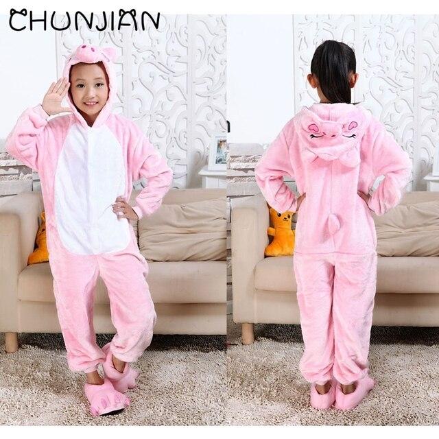 CHUNJIAN девушки розовой пижаме дети поросенок kigurumi детские one piece  набор пижамы дети полный рукав комбинезон 81335c6cb571f