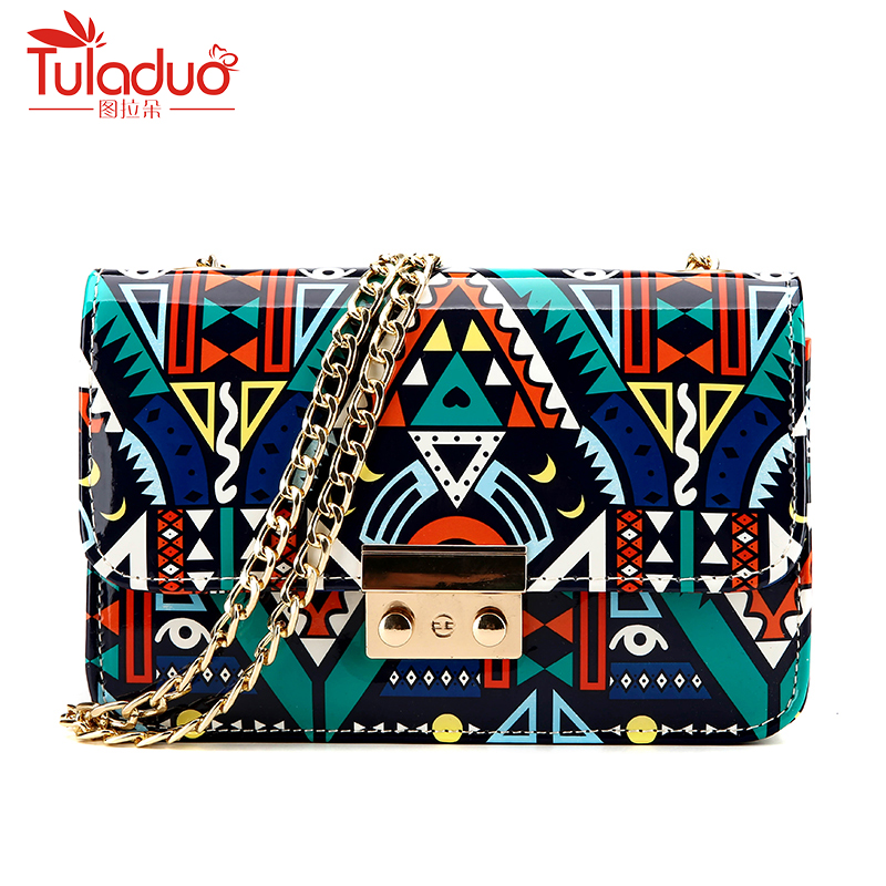 Fashion Printing Women Shoulder Bags Panelled Women Crossbody Bags PU Leather Ladies Messenger Bag Famous Brand Chains Bags 2018 famous brand designer 2018 ladies small messenger bags women serpentine leather shoulder bag high quality chains crossbody bags