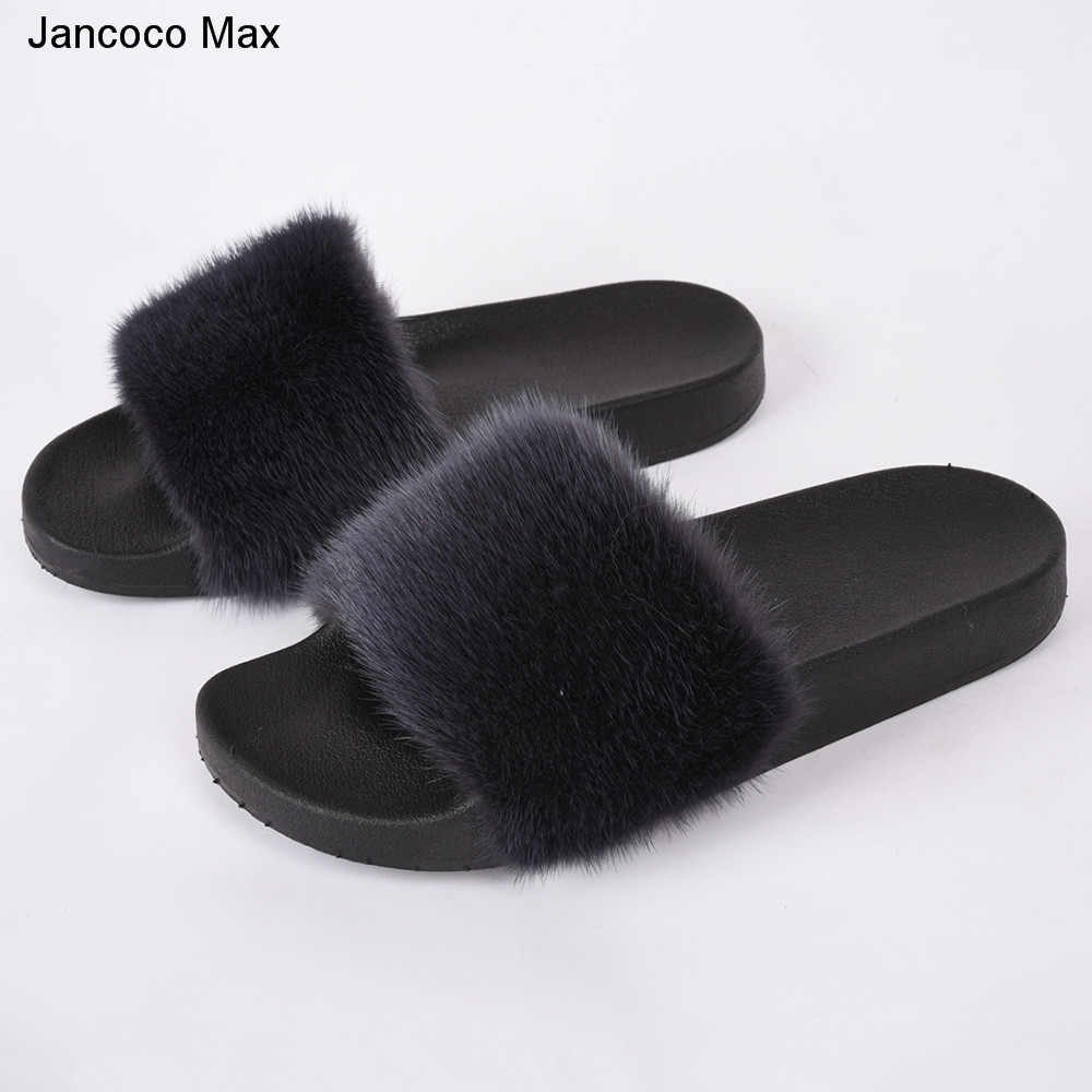 Jancoco Max 2018 New Arrive Women Real Mink Fur Slipper Top Quality Mink Fur Slides Lady Spring Summer Sliders S60Gloves27 cx c 128c hot sale fashion women mink fur wholesale woman mink fur women hat drop shipping