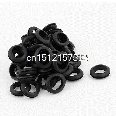 50 x Black Rubber 18mm Open Hole Ring Dual Side Cable Wiring Grommet цена