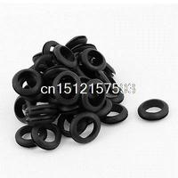50 X Black Rubber 18mm Open Hole Ring Dual Side Cable Wiring Grommet