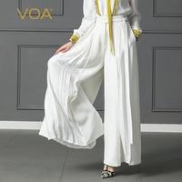 VOA плюс Размеры свободные Pantskirt Для женщин тяжелый шелк Широкие штаны Высокая Талия брючный пояс офисные Повседневное одноцветное Palazzo Брюк