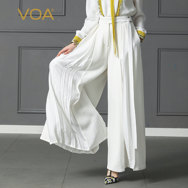 VOA Plus Size Loose Pantskirt Women Heavy Silk Wide Leg Pants High Waist Belt Trouser Office Casual Solid Palazzo Pants K397