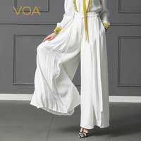 VOA Plus Size Loose Pantskirt Women Heavy Silk Wide Leg Pants High Waist Belt Trouser Office Casual Solid Palazzo Pants K397
