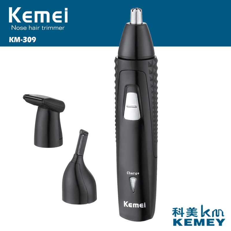 T133 kemei nose trimmer 3 in 1 rechargeable electric women face care shaving trimmer for nose & ear men's ear nose hair cutter magnetic labret ear nose spike 16