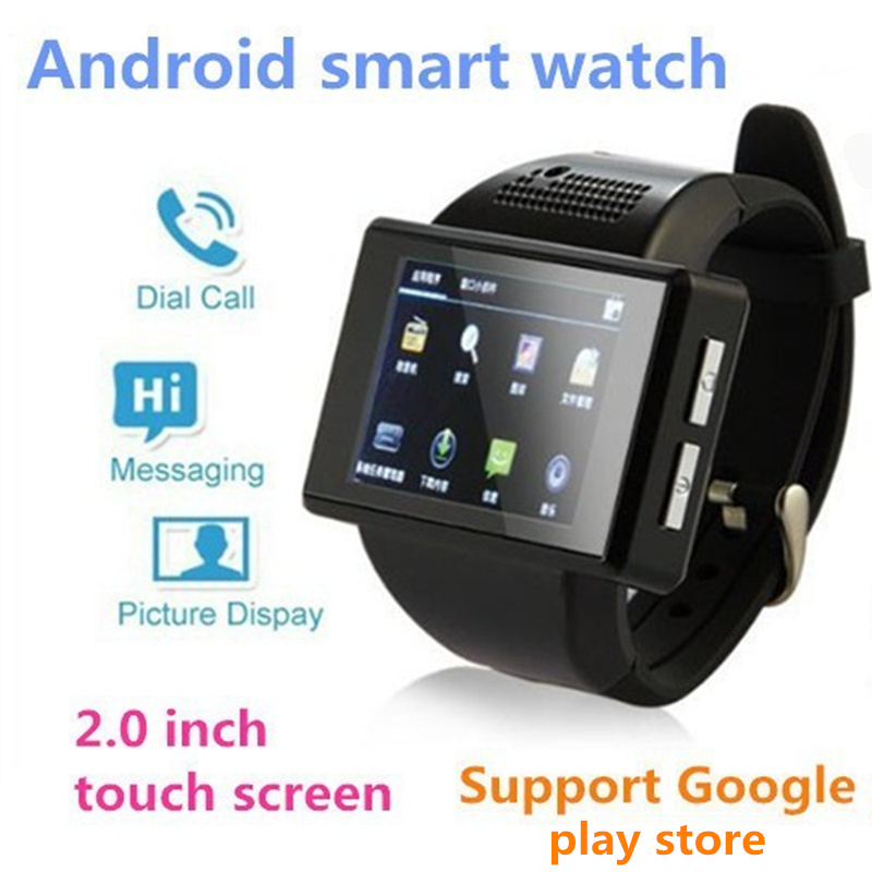 New  Black AN1 Android 4.1 Smart Watch Phone Dual Core 2.0 Inch Touch Screen Watch Mobile Phone 2.0 MP camera WiFi FM GPS colck
