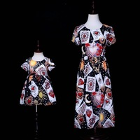 Mothre Duaghter Dresses Little Ghost Poker Cards Print Mother Baby Girl Daughter Bride Dress Sister Twins Matching Clothes