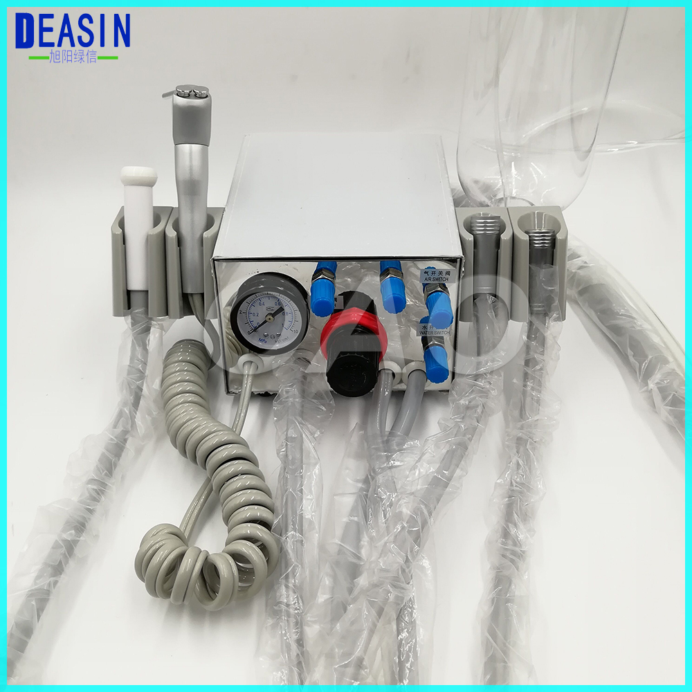 DEASIN Dental Lab Portable two Turbine Unit Air Compressor 3 way straw for dentist Handpiece tube