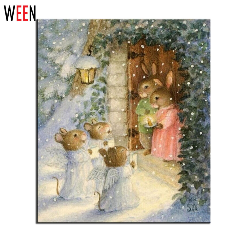 Coloring by numbers for rabbits - Ween Rabbit Oil Painting By Numbers Diy Handpainted Digital Wall Art Pictures Unique Gift Coloring By