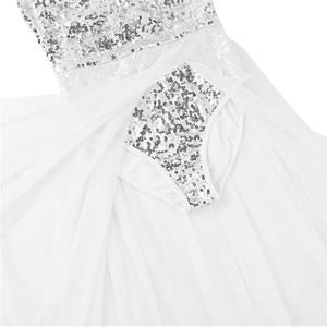 Image 5 - Женское балетное платье с блестками TiaoBug, Сетчатое блестящее балетное платье без рукавов, танцевальное трико для взрослых, балерина, для вечеринки, для сцены
