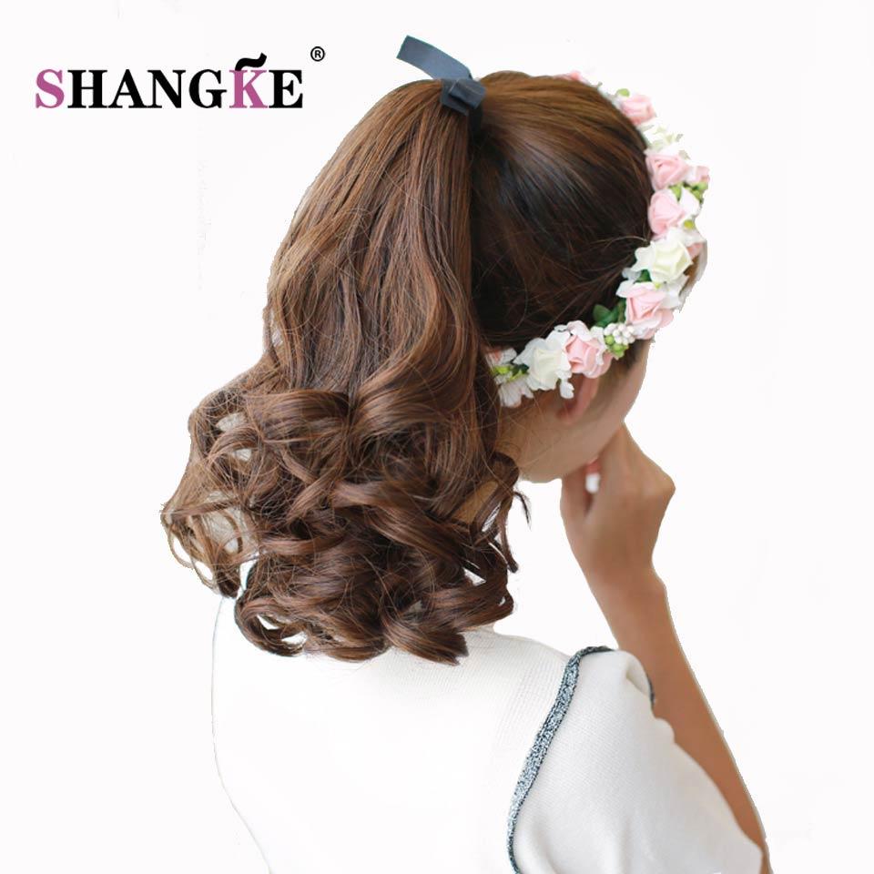 SHANGKE נקבה שיער קוקטייל קצר שיער מתולתל זנב טבעי קליפ בהרחבות שיער קוקו חום עמיד חרוט hairpieces