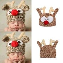 Helen115 Newly Newborn Baby Boy Girl Deer Hat Winter Warm Crochet Knit Bobble Beanie Cap