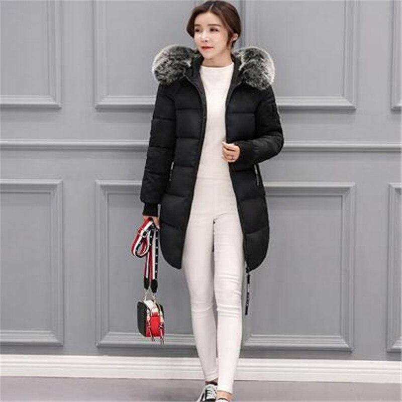 Fashion 2018 Winter women fur collar Long hoodie   Down   Jacket Plus Size Long Hooded Duck   Down   thick Parka   Down     Coats   Women Parkas