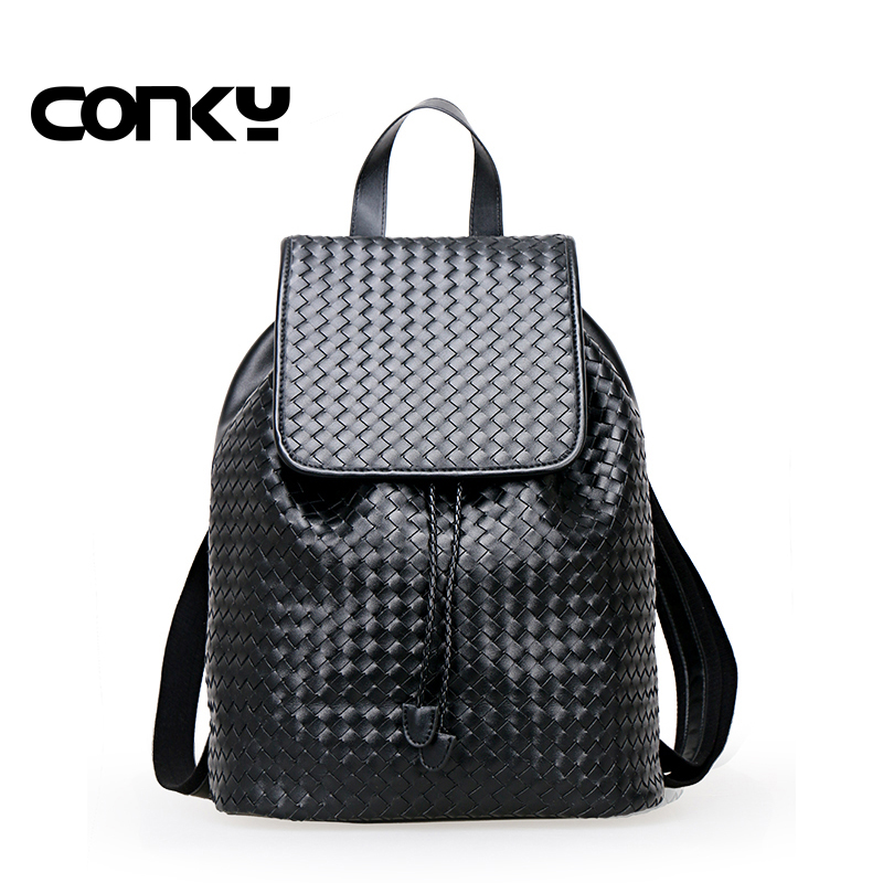 купить Brand New Vintage Black Quality Genuine leather Knitted Woven Unisex Men Fashion Women Backpack Travel Bags по цене 3696.78 рублей