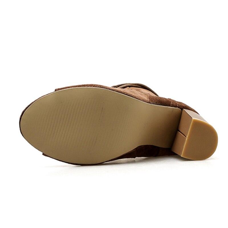 Cuir attaché Dentelle Pu Xwc2410 Toe 5 Chaussures Ikai Couleur Super brown En Black Solide Peep Cheville Femmes Automne Croix Talons up Haute Lala Bottes 0Pw4qYx8