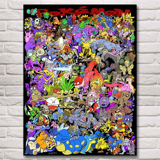 FOOCAME Pokemon All Monsters Anime Game Art Silk Fabric Poster Print Home Decor Printing 12x16 18x24 24x32 30x40 Inches