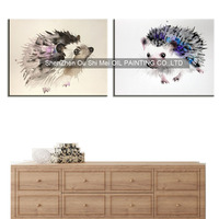 Handmade Lovely Hedgehog Oil Painting on Canvas Hand Painted Modern Animals Paintings For Bed Room Wall Knife Painting