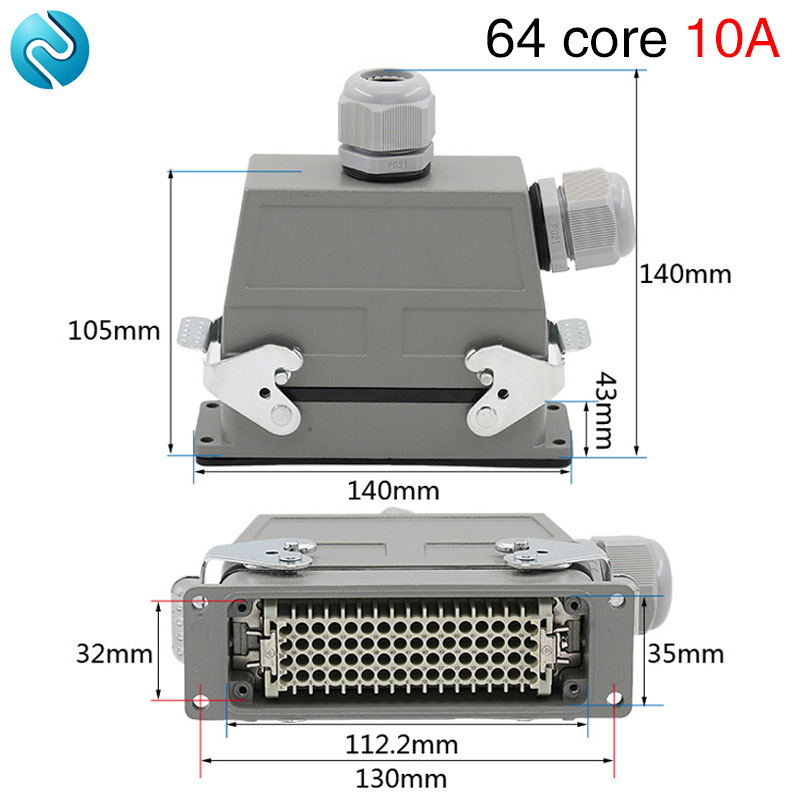 Heavy duty connector rectangular 64 core cold air plug hdc hd 064 waterproof plug double outlet hole 10A
