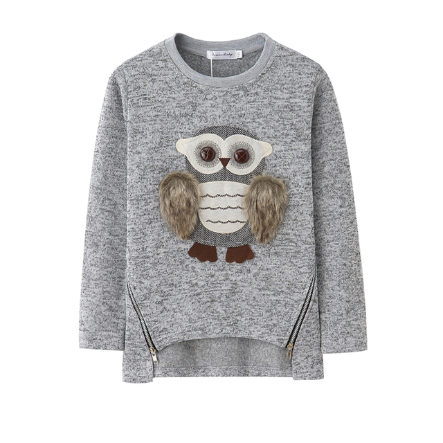 Sweater For Girls Kids Toddler Girsl Sweaters Pullover for Winter Autumn 2018 Clothes Cute Owl Warm Fleece Lined with Zipper 4
