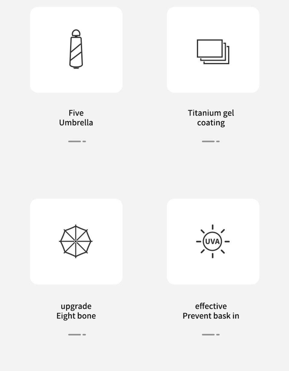 8 Bones Pocket Mini Umbrella Anti UV Paraguas Sun Umbrella Rain Windproof Light Folding Portable Umbrellas for Women Children (3)