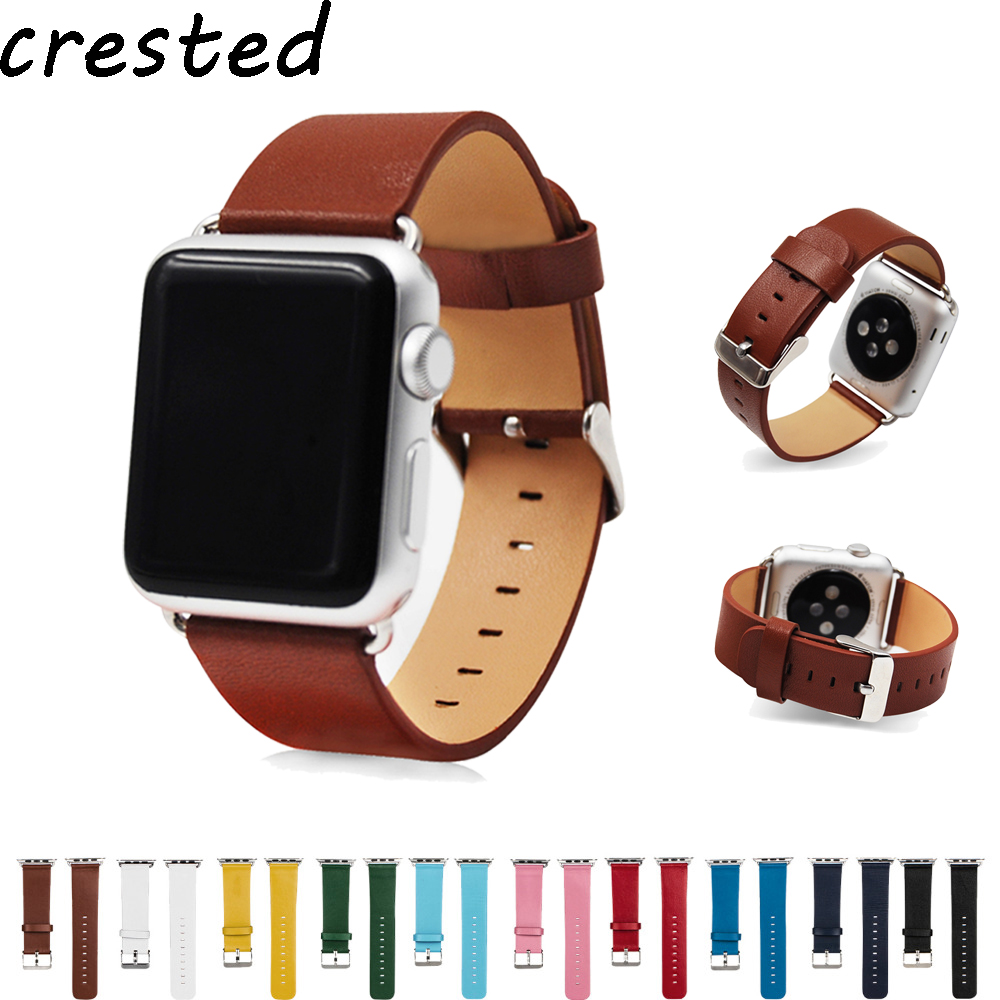 CRESTED genuine leather strap band for apple watch 3/2/1 42mm/38mm bracelet Wrist belt Watch accessories watchband+metal buckle цена