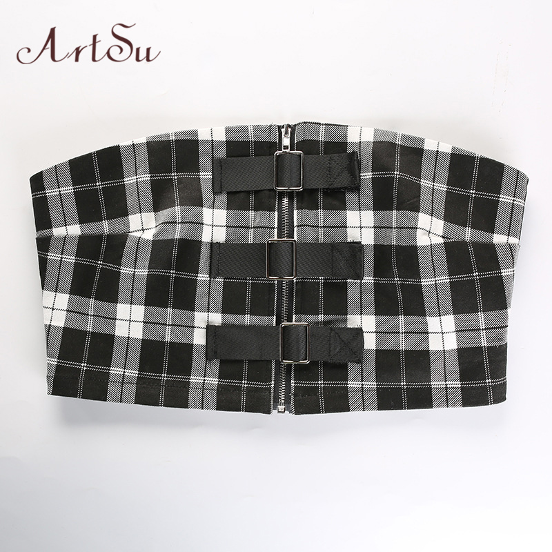 e9511d26ac ArtSu Strapless Tube Tops for Women Sexy Strappy Bustier Bralette Tank Tops  Plaid Female Fashion Sleeveless Tee Shirt ASVE20074-in Tank Tops from  Women s ...