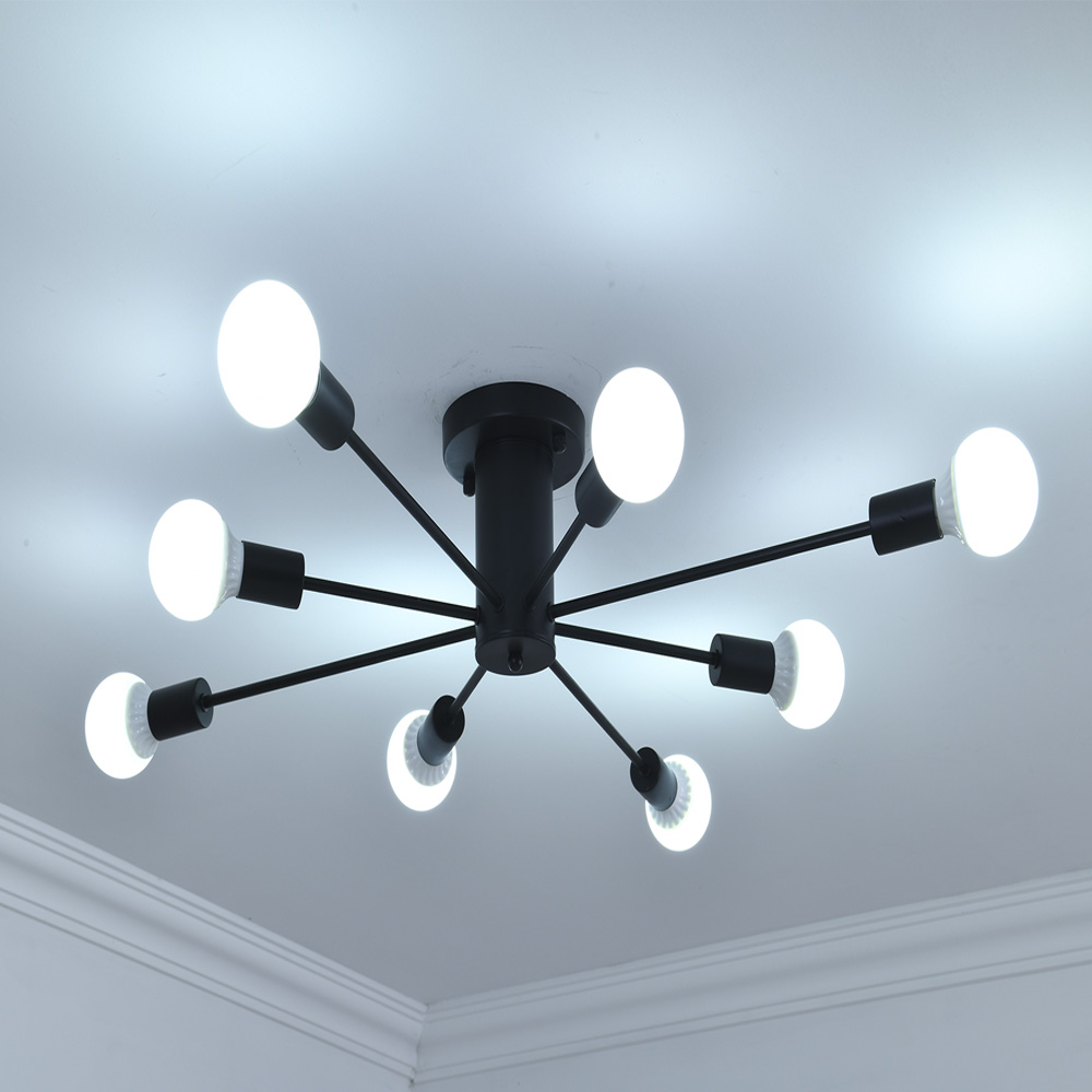 Işıklar ve Aydınlatma'ten Tavan Işıkları'de Modern Tarzı tavan aydınlatma tavan ışıkları E27 Lamba demir 8 ışıkları LED restoran dükkanı bar aydınlatma armatürü 90 260 v