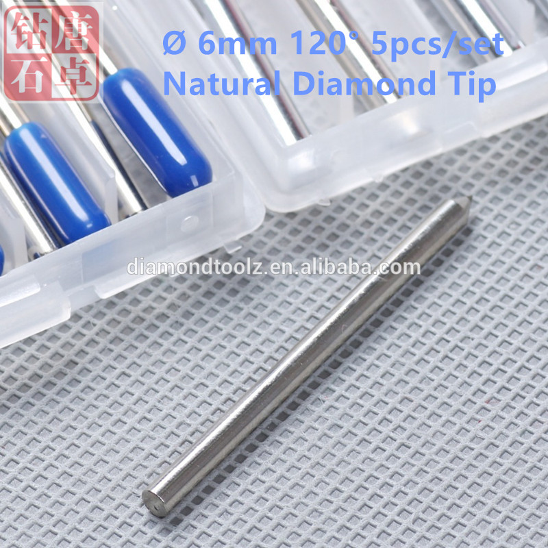 Talentool  Free Shipping 5pcs/set Natural  Diamond Drag Engraver Bit with 120 degree Dia 6mm  for  Glass Metal Gold Stone talentool free shipping 2pcs set diamond drag engraving bit with 60 degree dia 10mm for cnc machine