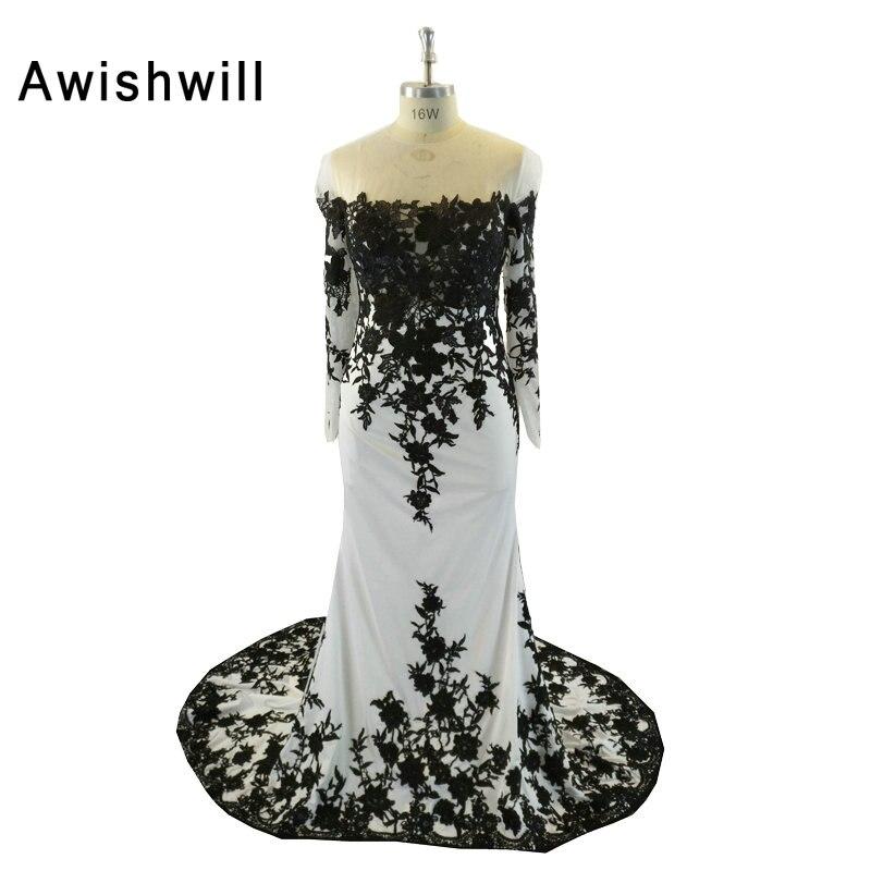 46736d0fc6c5 Μόδα Μαύρο και Λευκό Γοργόνα Βραδινά Φορέματα Μακρύ μανίκι Lace Chiffon  Ντουμπάι Φόρεμα Μακρύ Κόμμα Φόρεμα ..