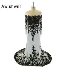 Fashion Black and White Mermaid Evening Dresses Long Sleeve Lace Chiffon Dubai Dress Long Party Dress Special Occasion