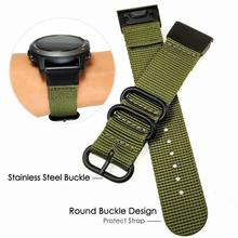 NATO Nylon Watch Band Strap Stainless Steel Metal Quick Fit 26mm/22mm for Garmin Fenix 5/5 Plus/Fenix 5X/Fenix 3 /forerunner 935 stainless steel quick release band buckle connector adapter for garmin fenix 5 5x 5s fenix3 3hr forerunner 935 22mm 20mm 26mm